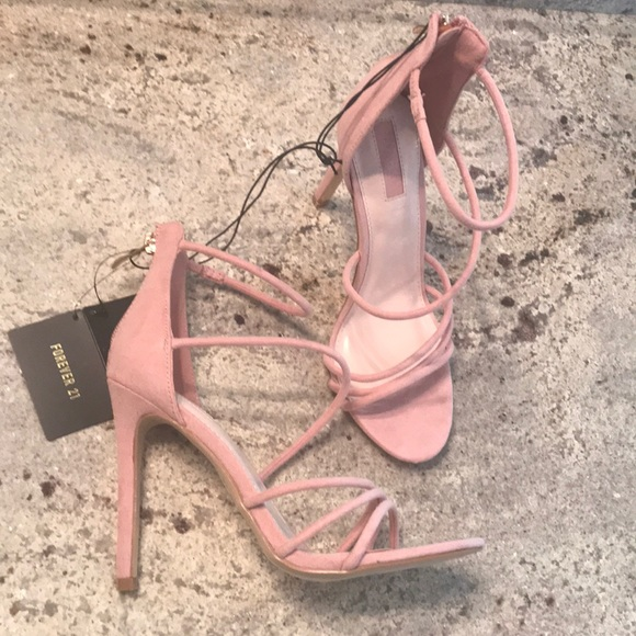 38822f8ed1cd Strappy Blush Pink Faux Suede Stiletto Heels